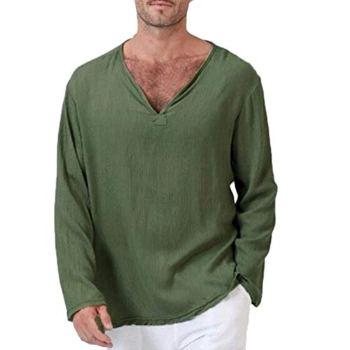 Camiseta Hombre Hombre Ropa Yoga Tops Blusa Hombre para Camiseta Manga Larga Mode De Marca Algodón Lino Tailandés Hippie Camisa, Cuello En V Hombres Camiseta Tops (Color : Armeegrün, Size : M)