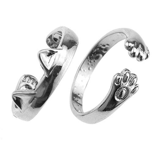 Create Idea Silber Katzenpfote Ring Mädchen Dame Tier Katze Plated für Frauen