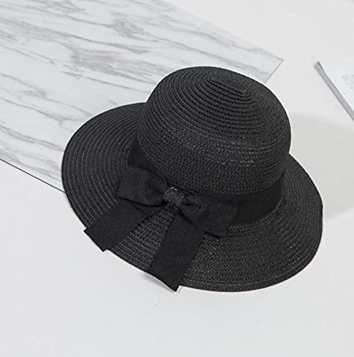 NJJX Sombrero para El Sol para Mujer, Gran Lazo, ala Ancha, Disquete, Sombreros De Verano para Mujer, Playa, Panamá, Paja, Sombrero De Cubo, Protección Solar, Visera, Gorra para Mujer, 55-58Cm, Negro