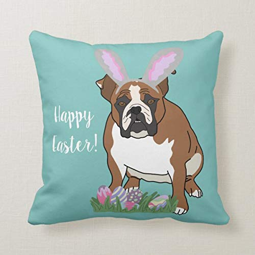 Funda de cojín de 45,7 x 45,7 cm, funda de almohada para sofá, decoración de oficina, personalizable con bulldog inglés