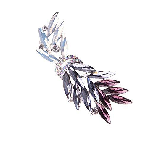 Y-XM 2*Broches de Bisuteria Hoja de Olivo con Estilo con Incrustaciones de Piedras Preciosas Color Corte Cristal Broche