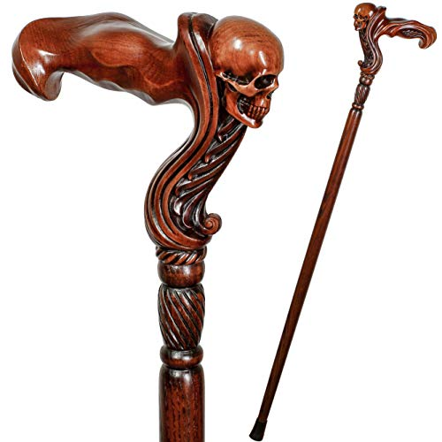 "GC-Artis Wooden Walking Cane with Skull Head Ergonomic Palm Grip Handle 36"" Wood Carved Walking Stick for Men Women"