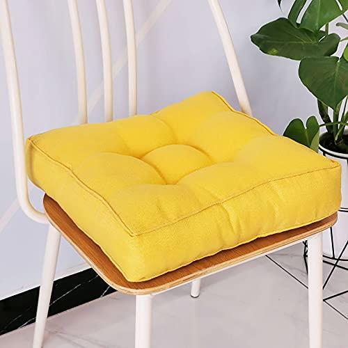 KTYRONE Quadratische Meditationskissen Zum Sitzen Auf Boden Dickes Büschelsitz Kissen Für Wohnzimmer Hängen Swing Chair Fensterkissen,Gelb,45x45cm(18x18inch)