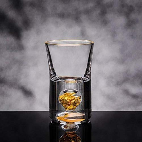 JYYC Kristallglas Weinglas Blattgold Schnaps Schnaps Feuerwasser Mini Weinglas Weinteiler Geschenkbox, 1 Glas 10ml