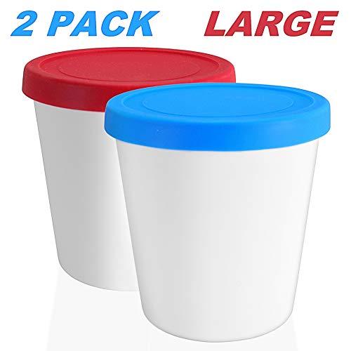 LIN ijsbewaarbakken met deksels 2-Pack - 1L ronde herbruikbare vriezer containers opbergboxen voor zelfgemaakt ijs, sorbet, bevroren yoghurt of algemene voedsel opslag