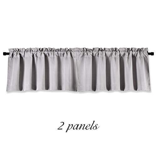 DONREN Light Grey Valance - Kitchen Valances for Small Window with Rod Pocket (2 Panels,42 by 15 Inch)