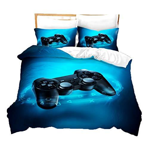 UNILIFE 3-teiliger Gamepad-Bettbezug Gamer-Bettwäsche mit Kissenbezug Playstation 4-Bettbezug Set mit Reißverschluss