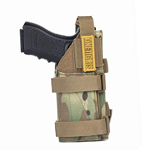 OneTigris 1000D Nylon Taktische Molle Pistolenholster Gürtelholster für Pistolen (Schwarz ohne Magazintasche) |MEHRWEG Verpackung (Multicam)