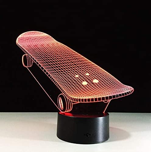 Lámpara de ilusión de luz nocturna 3D lámpara de mesita de noche forma de scooter 7 interruptor táctil que cambia de color lámpara de decoración de escritorio regalo para niños tableta de acrílico USB