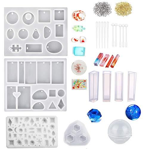 Jatidne Moules en silicone pour la fabrication de bijoux en résine époxy Kit de moulage pour bijoux en résine pour bijoux en résine, savon séché fleur sphérique et de nombreuses formes différentes