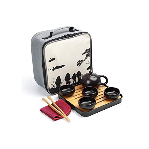 Teekanne aus Keramik mit chinesischem Kung-Fu-Tee-Set, tragbares Teaware-Set, Gaiwan, Teetasse mit Teekanne, Teekanne, Reisetopf, Teaware-Geschenk, 23