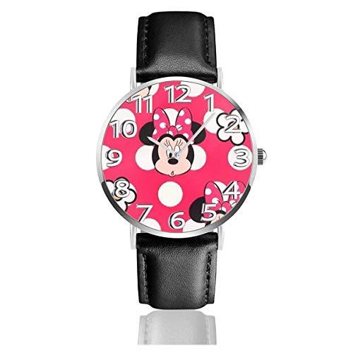 Minnie Mouse con Flor Reloj Unisex de Cuarzo analógico de fácil Lectura de 38 mm con Correa de Cuero