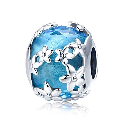 Ciondolo a forma di margherita compatibile con braccialetti europei e Pandora, in argento Sterling 925 con cristalli di zirconia cubica blu