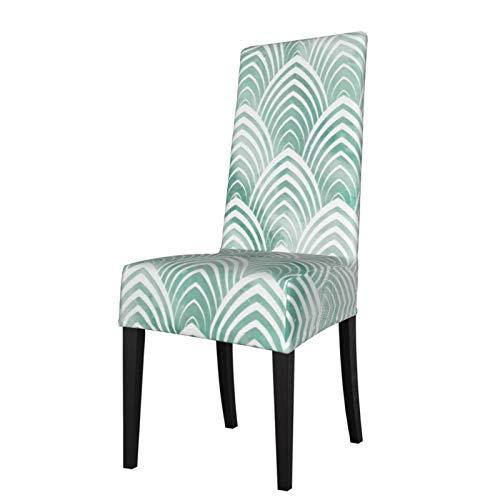Stretch-Stuhlüberzug für Esszimmerstühle, Art-Deco-Stil, Waage, Aqua-Mintweiß, Geometrie, Elastan, abnehmbar, waschbar, Stuhlbezüge für Esszimmer, Zuhause, Küche, Hotel, Zeremonie Party