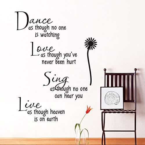 Baila Como Si Nadie Estuviera Mirando Love Quote Tatuajes De ParedExtraíble Pvc Adhesivos De Pared Decoración Para El Hogar Dormitorio Diy Pared