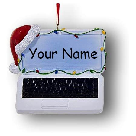 Kurt Adler Personalized Laptop Personal Computer with Santa Stocking Cap and Colorful Christmas Lights Hanging Christmas Ornament with Custom Name