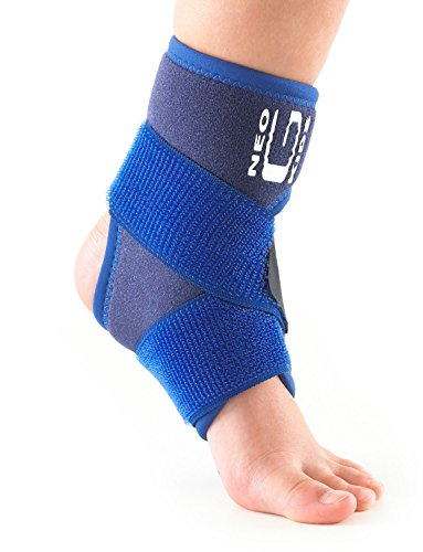 Neo G Ankle Brace for Kids - Support For Juvenile Arthritis Relief, Joint Pain, Ankle Injuries, Gymnastics, Basketball, Volleyball - Adjustable Compression - Class 1 Medical Device - 1 Size - Blue