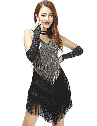 YROYKRRE 1920s Flapper Jurk Met franjes Pailletten Jurk V-hals latijn Dans Kostuums Ballroom tango rumba cha cha dansjurk
