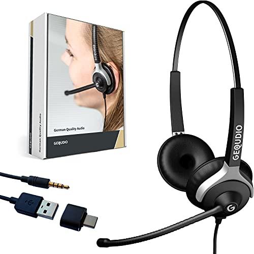 GEQUDIO Auriculares con conexión USB adecuados para PC y Mac - Almohadillas de Repuesto para Auriculares - Cable reemplazable - la luz 80g (2 Altavoces)