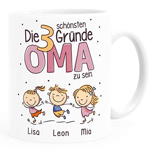 SpecialMe® Tasse Die schönsten Gründe Oma zu sein mit Enkel-Kindern und Namen personalisiertes Geschenk für Oma Oma weiß Keramik-Tasse