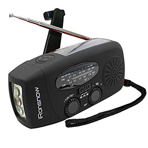 (Upgraded Version) iRonsnow Solar Emergency NOAA Weather Radio Dynamo Hand Crank Self Powered AM FM WB Radios 3 LED Flashlight 1000mAh Smart Phone Charger Power Bank (Black)