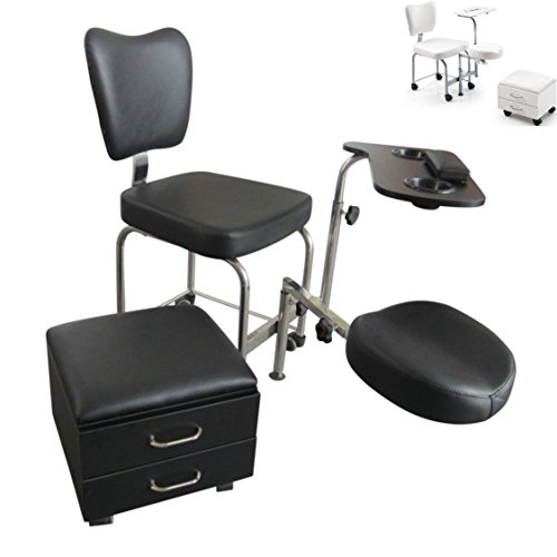 Polironeshop – Taburete Athos para esteticista, para realizar masajes, pedicura, manicura, tratamientos de estética, reconstrucción de uñas, silla para podología, negro
