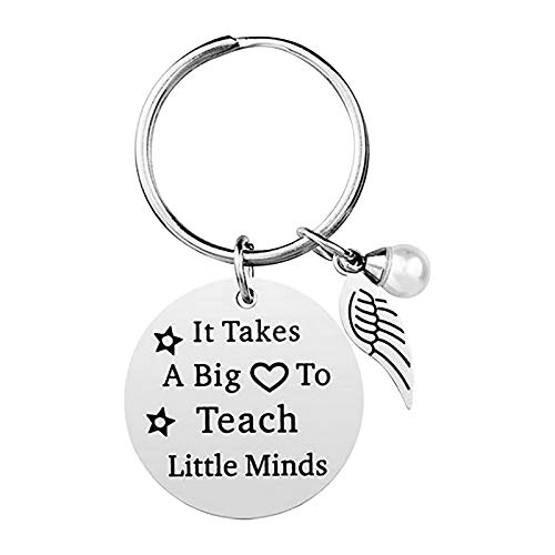 Stainless Steel Handcuff Keychain - It Takes a Big to Teach Little Minds Theme Keychain Teachers' Day Gift Pendant Keychain Gift Key Ring Key Chain Key Tag Car Key Accessories