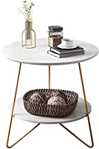 FJFXCJ end Table Simple Coffee Table with Metal Chair Legs, Double-Layer Storage Design, Solid Steel Frame Support, Round ...