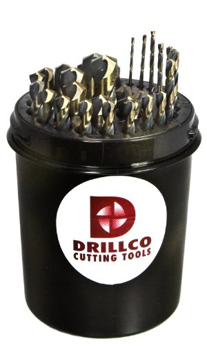 Drillco 350N Series Nitro 29 Piece High-Speed Steel Mechanics Length Drill Bit Set, Black and Gold Oxide Finish, Round with Flats Shank, Spiral Flute, 135 Degrees Split Point, Drill Pal 1/16