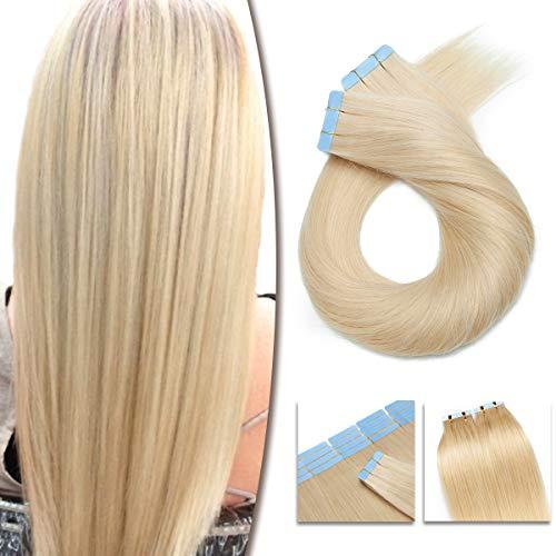 100% Remy Echthaar Tape in Extensions Echthaar 50cm Echthaar Extensions Tape In Haarverlängerung 40 Tressen 100g #60 Weißblond
