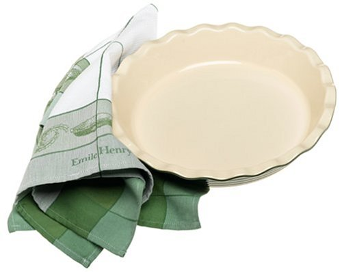 Emile Henry Le Potier 12-Inch Pie Plate with Tea Towel, Olive Green