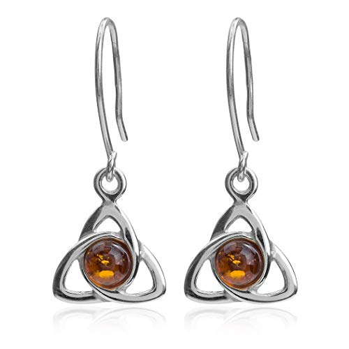 Amber Sterling Silver Celtic Triangle Hook Earrings
