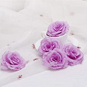 Silk Flower Arrangements Artificial and Dried Flower 10pcs/lot Artificial Flower 8cm Silk Rose Flower Head Wedding Party Home Decoration DIY Decorative Craft Flower - ( Color: Lilac )