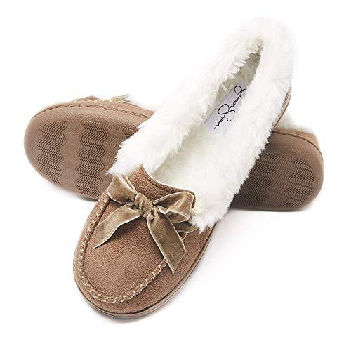 Jessica Simpson Womens Micro Suede Moccasin Indoor Outdoor Slipper Shoe (Size Medium, Cinnamon)