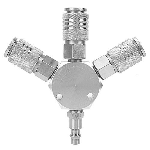 FTVOGUE Acoplador Neumático Manifold Manguito de Aire de 3 Maneras Adaptador Splitter 1/4 '' F-NPT para Combustible Aire Agua Aceite