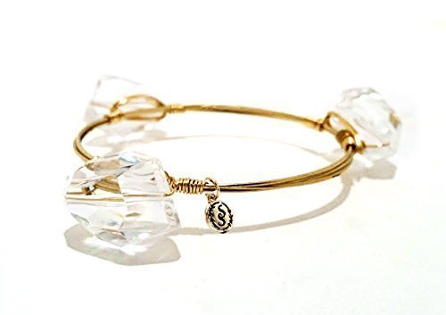 Gold Wire Stacking Bangle Bracelet Faceted Clear Spasm price Chunky with Bombing new work Cry