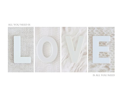 Minimalism White Home Décor Wall Art Print, Inspirational Quote Artwork Poster, All you Need is Love