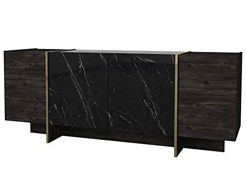 Alphamoebel moebel17 5200 Veyron Sideboard Moderne Kommode Schrank Tisch, Marmoroptik, Rebab Braun Dunkelgrau, 4 Türen, viel Stauraum, 7 Regalablagen, für Wohnzimmer, Holz, 180 x 75,5 x 46,6 cm