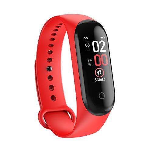 wudidianzi M4 Smart Band Fitness Tracker, Activity Tracker Reloj para Ejercicios de Salud con pulsómetro y Monitor del sueño para iOS y Android, Rojo