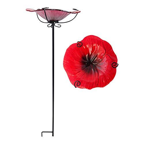 Comfy Hour Bird Meets Garden Bath Collection 28' Chrysanthemum Glass Top Birdbath Birdfeeder Metal Art Garden Stake