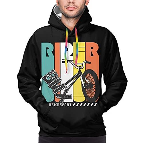 Sudadera con capucha unisex con capucha y bolsillos en 3D, Bmxrider - Tipografía para bicicleta, color negro, XL