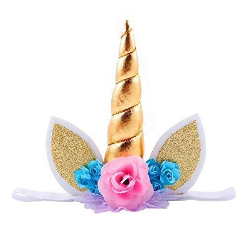 Eenhoorn Hoorn Oren Hoofdband Baby Meisje Jongen Verjaardag Party Rose Bloem Haarband (Goud)