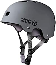 OutdoorMaster Skateboard Cycling Helmet - Two Removable Liners Ventilation Multi-Sport Scooter Roller Skate Inline Skating Rollerblading for Kids, Youth & Adults - L - Grey