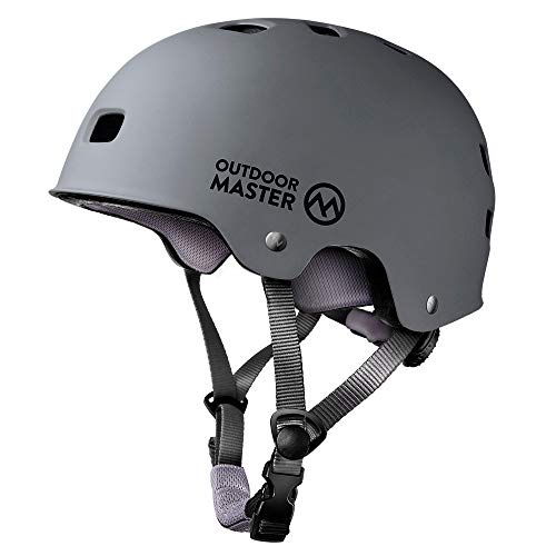 OutdoorMaster Skateboard Cycling Helmet - Two Removable Liners Ventilation Multi-Sport Scooter Roller Skate Inline Skating Rollerblading for Kids, Youth & Adults - M - Grey