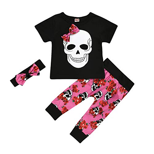 Halloween Toddler Baby Girl Clothes 2PCs Outfit Set Skull T-Shirt and Floar Pants Kids Clothes (Red-a, 18-24 Months)