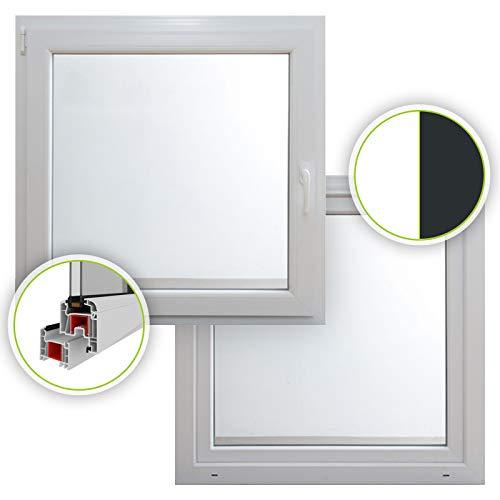 HORI® Dreh-Kipp Kunststoff-Fenster I 2-fach verglast weiß I DIN links I 500 x 500 mm (Länge x Breite)