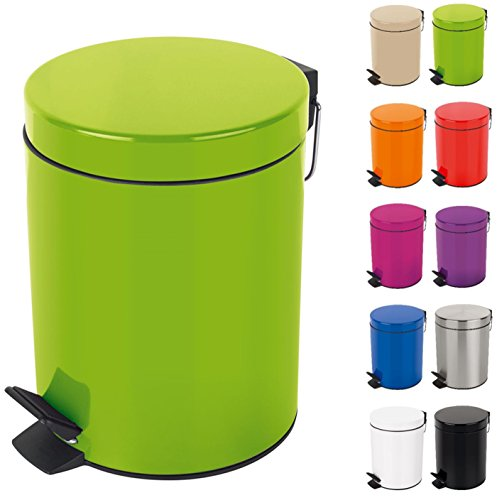 Spirella Kosmetikeimer Sydney Grün Mülleimer Treteimer Abfalleimer - 3 Liter – mit herausnehmbaren Inneneimer