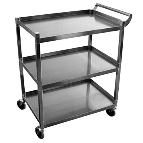 GSW Stainless Steel Solid 1-Inch Tubular Utility Cart with 5-Inch Swivel Casters, 18 by 29-1/2 by 34-Inch NSF Approved