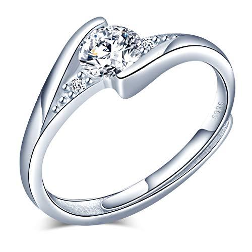CPSLOVE Anelli donna ragazza in argento sterling 925, Anello di diamanti alla moda, misura regolabile, Regalo di anniversario di matrimonio