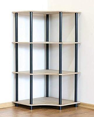 DEDAL-4W - Estantería de Esquina (4 estantes), Color Negro ...